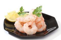 Pile of prawns. Over a black dish Royalty Free Stock Images