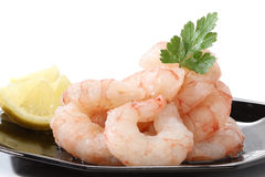 Pile of prawns. Over a black dish Royalty Free Stock Photos