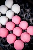 A pile of Preserved pink century eggs and salted eggs top view s royalty free stock images