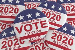 Pile of 2020 Presidential Election Vote Buttons With US Flag, 3d illustration royalty free stock images