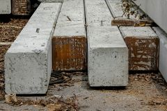Pile of prestressed concrete Used in construction sites. stock image