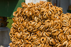 Pile of pretzels Stock Image