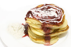 Pile of puffy pancakes Royalty Free Stock Images