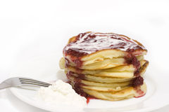 Pile of puffy pancakes Royalty Free Stock Image