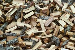 A pile of punctured firewood. Harvested wood for the stove royalty free stock photo