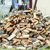 A pile of punctured firewood. royalty free stock photography