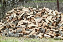 A pile of punctured firewood. Harvested wood for the stove stock photos