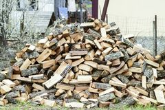 A pile of punctured firewood. Harvested wood for the stove stock image