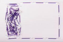 Pile of purple cotton buds on white background, copy space. Pile of purple cotton buds on white background, hygiene concept, copy space ear plastic swab care royalty free stock image