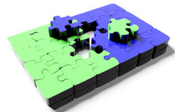 Pile of  puzzle elements Stock Photos