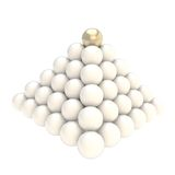 Pile pyramid of glossy spheres isolated on white. Leadership conception as pile pyramid of glossy spheres with one golden at the top, isolated on white Stock Photo
