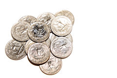 Pile of quarters. Isolated on white background Royalty Free Stock Image