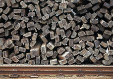 Pile of railways sleepers stock photos