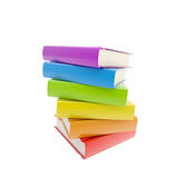 Pile of rainbow colored glossy books isolated Stock Image