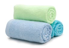 pile of rainbow colored towels Stock Photo