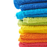Pile of rainbow colored towels Royalty Free Stock Photo
