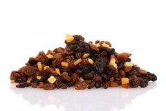 Pile of raisins currants and sultanas with mixed candied peel Stock Photography