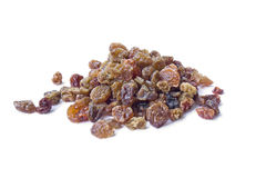 Pile of raisins isolated over white Royalty Free Stock Images