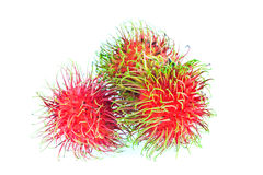 Pile of Rambutans on white background. Pile of Rambutans, tropical fruit Stock Image