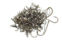Pile of random fishing hooks Royalty Free Stock Image