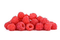 Pile of raspberries. Isolated on the white background Stock Image