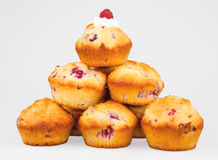 Pile of raspberry muffins Stock Photos