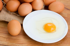 Pile of raw egg and broken one Stock Photography