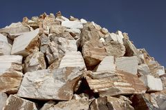 Pile of raw marble slabs Royalty Free Stock Photos