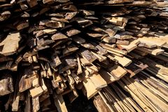 Pile of raw planks of pine wood Stock Photo
