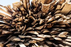 Pile of raw planks of pine wood Stock Images