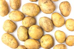 A lot of dirty potatoes on a white background. Pile of raw potatoes on a white background. View from above Stock Photos