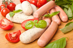Pile of Raw Sausages Stock Photo