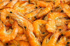 Pile of raw shrimps. Stock Photo
