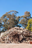 Pile of raw timber to recycle at waste depot Stock Photo