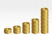 Pile realistiche della moneta del dollaro dell'oro 3d isolate sul BAC trasparente Immagine Stock Libera da Diritti