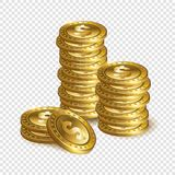 Pile realistiche della moneta del dollaro dell'oro 3d isolate sul BAC trasparente Fotografia Stock
