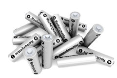 Pile of rechargeable batteries Stock Photos