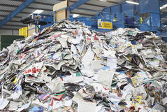 Pile Of Recycled Papers. In factory Stock Images