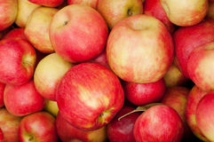 Pile of Red Apples. Stack of red and yellow apples at farmers market Royalty Free Stock Images