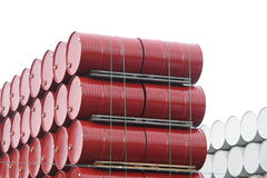 Pile of red barrels Royalty Free Stock Image