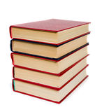 Pile of red books. Pile of red books on white background Royalty Free Stock Photo