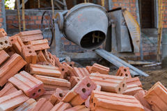 Pile of red brick Stock Photo