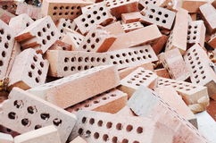 Pile  red bricks Royalty Free Stock Images