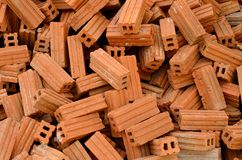 Pile of red bricks Royalty Free Stock Image