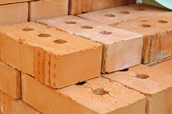 Pile of red bricks. Stock Photos