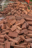 Pile of red bricks Stock Photo