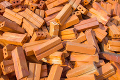Pile of red bricks Royalty Free Stock Images