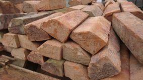 Pile of red bricks Royalty Free Stock Photo
