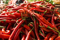 Pile of red chili on sale in traditional market photo taken in Bogor Indonesia Royalty Free Stock Photo