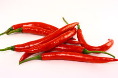 Pile of red chilli pepper. A pile of red chilli pepper  on white background Stock Photography